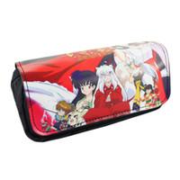 Wholesale Inuyasha Anime - Wholesale- Anime Inuyasha Higurashi Kagome Sesshoumaru etc Pencil Case Bag Student Stationery Pouch Cosmetic Travel Makeup Storage Bag