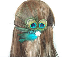 Wholesale Peacock Claws - 2017 hot sale dance party headdress with a drill hoop European and American hair with peacock feather hairpin hair accessories