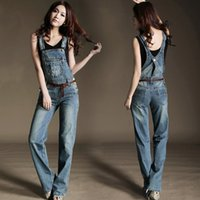 Wholesale Casual Washed Womens Overalls - Wholesale- Womens Jumpsuit Denim Overalls 2016 New Spring Autumn Washed Vintage Denim Pants Pockets Jeans Coverall C527