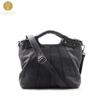 top grain leather handbags 2018 - Wholesale- FULL GRAIN GENUINE LEATHER TOP HANDLE BAG - Women's Ladies' High Quality Casual Medium Size Crossbody Shoulder Tote Bag Handbag