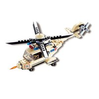 Wholesale Top Helicopter - Top Selling Kid Toys Assembled Model Building Kits Realistic Military Helicopter Blocks Child Educational DIY Toys 26*18.5*11CM VE0179