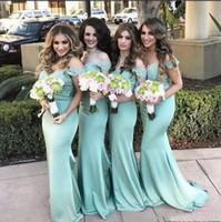 nane kapalı omuz dantel elbisesi toptan satış-Omuz kapalı Dantel Mermaid Gelinlik Modelleri 2017 Yeni Nane Dantel En Hizmetçi Onur Törenlerinde Yaz Plaj Düğün Konuk Elbiseler Custom Made