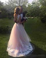 Wholesale Lace Up Corset For Wedding - Simple Wedding Dress For Brides Lace Bottom Sweep Train Corset Back Long Vestido de novia Beach Garden Marriage Gown Sleeveless