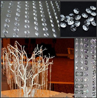 Wholesale Crystal Garland Strands Wholesale - New Wedding Party Decoration Clear Acrylic Crystal Octagonal Bead Curtain Garland Strands DIY Craft Christmas Tree Hanging Ornament
