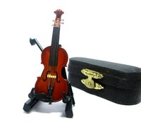 Wholesale Mini Wooden Instruments - 1 12 scale Acoustic Musical Instrument Dollhouse Miniature Furniture Mini Cello Violin Music Figure play toy with Bow Case&Holder