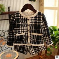 Wholesale Girls Black Skirt Sets - Kids plaid outfits girls lattice double pocket single breasted coat+shorts 2pcs clothing sets autumn child sweatshirt skirt two piece T0532