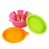 Wholesale Pet Food Dishes - Hipidog Dog Bowl Dog Cat Pet Travel Bowl Silicone Folding Collapsible Feeding Water Dish Feeder Portable Water Food Bowl for Pet