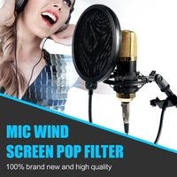 Wholesale Double Layer Studio Microphone Mic Wind Screen Pop Filter Swivel Mount Mask Shied For Speaking Recording