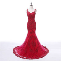 Wholesale Spaghetti Strap Nude Sequin Dress - 2017 Dark Red Evening Dresses Straps Appliques Lace Mermaid Long Illusion Real Photo Prom Party Gowns Luxurious Weddings Guest Dress