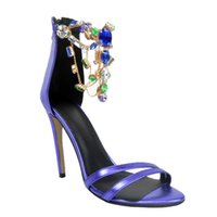 Zandina Großhandel Womens Fashion Handmade 100mm High Heel Open-Toe Rhinstone Schmuck Party Sandalen Schuhe Blau XD141