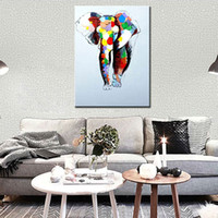 Wholesale Hand Painted Elephant - Hand painted abstract art oil painting on canvas elephant pictures animal decorations for home wall painting living room unframed