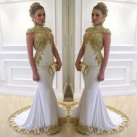 Wholesale formal gown long stretch - Stunning White Long Evening Dress High Neck Cap Sleeve Beaded Gold Lace Appliques Stretch Satin Mermaid Women Formal Gowns