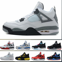 Wholesale Superman Mens - With Box High Quality 4s Mens Basketball Shoes 4s White Cement Black Red 4 Superman Fashion Sports Shoes