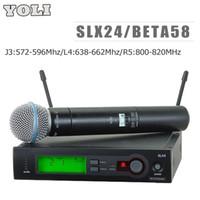 Wholesale Wireless Headset Microphone System Uhf - J3:572-596Mhz L4:638-662Mhz R5:800-820Mhz!! UHF PRO WIRELESS MICROPHONE SYSTEM SLX24 BETA58 Handheld Mic for Stage DJ