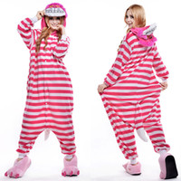 Wholesale Cheshire Cat Cosplay - Cheshire Cat Animal Costume Kigurumi Pajamas Cosplay Halloween Suits Adult Romper Cartoon Jumpsuits Unisex Animal Sleepwear