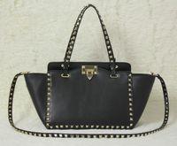 siyah perçin çanta toptan satış-2018 yeni moda çanta omuz çantası bayan çantası Altın perçin kalma Tarih siyah Sevgililer Günü çantası Küçük Boy Siyah Sarı Beyaz Kırmızı renkler