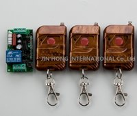 led door button prices - Wholesale-220V 110V 1CH earning Code Gate Garage Door Led light Remote Control Switch with 3pcs Wooden Frame Button Transmitter JRL-4009