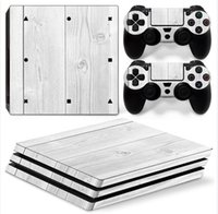 Wholesale White Ps4 Console - White Wooden Full Set Vinyl Skin Sticker Decor Decals for Sony PS4 Pro Console Skin + 2 PCS Controller Cover Skin Stickers