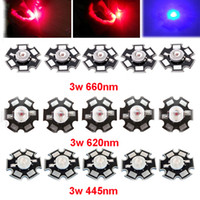 Wholesale Royal Lamps - Wholesale- 10pcs 3W 45mil EPILEDS Chip Deep Red 660nm Red 620nm Royal Blue 445nm LED Bead Diodes Plant Grow Light Lamp With 20mm base