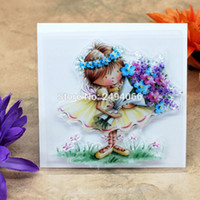 Wholesale girl scrapbooks - Wholesale- Girl Flower Scrapbook DIY photo cards account rubber stamp clear stamp transparent stamp 9x9cm AP7022227