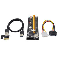 adaptador de extensor usb venda por atacado-0.6 M PCI Express PCI-E 1X a 16X Riser Cartão Adaptador PCIE Extender com Cabo USB 3.0 + SATA para 4Pin IDE Molex Cabo De Alimentação com frete grátis