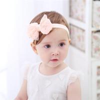 Wholesale Newborn Baptism Headband - Bow Baby christening Headbands White Headband Elastic Baptism Gift Toddlers Golden Star Prints Head Wraps for Newborn Baby Photography Props