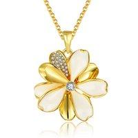 cadena de oro blanco 18k 18 al por mayor-Envío gratis flor 18 k joyas de oro collar en forma de mujeres GGN915, oro amarillo blanco piedras preciosas collares pendientes con cadenas