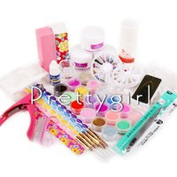 Wholesale Home Nail Acrylic Set - Wholesale- Pro Acrylic Nail Liquid Powder Uv Nail Art Kit Diy Tips Cutter Nail Form Tool Kit Manicure Set For Home Use Dropshipping