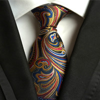 Wholesale Mens Embroidered Wedding Suits - High Quality Paisley Silk Mens Tie Casual Suit Silk Ties Floral Gravata Mens Vestidos Business Wedding Paisley Stripes Plaid Dots 10 styles