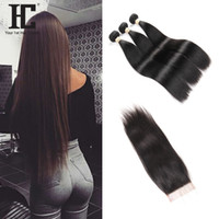 Wholesale Brazilian Straight Closures - HC Hair Bundles Brazilian Human Hair Unprocessed Brazilian Straight Bundles With Lace Closure Bundles 3Pcs with Lace Closure