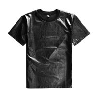 Wholesale T Shirt Black Leather Men - New Original design European shiny pu leather serpentine crocodile pure black t-shirts with short sleeves male side zippers