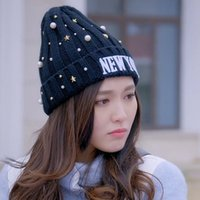 Wholesale Accessories Wholesale New York - 2017 New York Fashion Soft Beanie Star Pearl Knitting Hat Women Hats Warm Headgear Casual Pom Girl Accessories Gift A-200