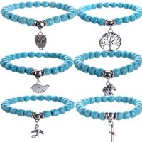 Wholesale Turquoise Elephant Bead - Fashion a hoard of elastic line bracelet Turquoise beads elephant women's bracelet