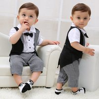Wholesale Babys Summer Shorts - Ins Babys Boys Romper Stripe Kids Clothing 2017 New Summer Jumpsuits Rompers Short Sleeve newborn Bow Tie Romper YAN-603