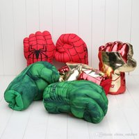 Wholesale Avengers 26cm - 10'' 26cm New Avengers Cosplay Incredible Green Hulk Spiderman Smash Hands Plush Gloves Boxing Gloves Gifts