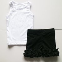 Wholesale Tank Girl Leggings - white tanks set with black leggings icing outfits girls infant high quality set girl children solid leisure sets summer girls kid sets icing