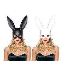 Wholesale Party Bunny Costume Wholesale - Women Girl Party Rabbit Ears Black White Mask Masquerade Mask Bunny Mask for Birthday Party Easter Halloween Costume Accessory