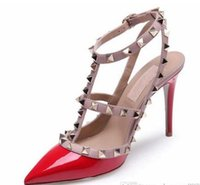 Wholesale Red Valentines Day Dress - woman Women Rockstud pointed rivet ivory white color high-heeled Women valentine T-strap across instep wedding Sandals
