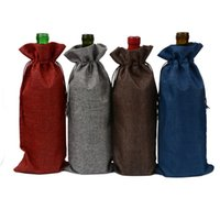 Wholesale High 15 Cm - 10pcs lot Jute Wine Bottle gift bag Burgundy 15 * 35 cm Christmas wedding wine decoration Folding green bag Festival items