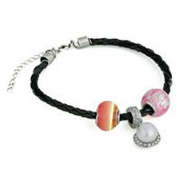 Wholesale Pearl Bracelet South Korea - New Japan and South Korea noctilucent imitation pearl pink coloured glaze bracelet manufacturers original luminous beads jewelry by hand