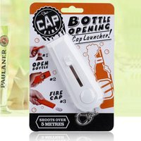 2017 Portable Fly Cap Zappa keychains Bevitore di birra Bottle Opener Apertura Cap Launcher Top Shooter Gun Kichen Cooking Tool