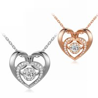 Wholesale Silver Heart Pendant Fashion - Hot fashion new crystal zircon silver heart jewelry diamond pendants rose gold 925 sterling silver pendants necklaces for women girls lovers