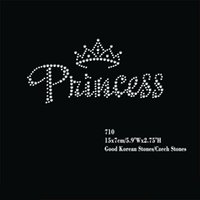 """Wholesale Iron Patches Crowns - 24pcs lot Hotfix Rhinestone Iron On Heat Transfer Motifs Patches The """"Princess"""" With Small Crown Applique"""