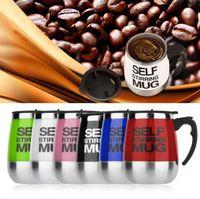 Wholesale Wholesale Plastic Cups For Coffee - Self Stirring Mug 401-500Ml Stainless Steel Couple Mugs Auto Mixing Cup For Tea Coffee Lazy Self Stirring Mug KKA1876