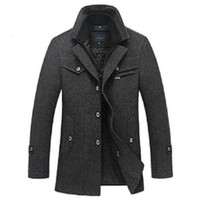 Wholesale Single Button Pea Coat - Winter Wool Coat Men Slim Fit Fashion Jackets Mens Casual Warm Outerwear Jacket Overcoat Pea Coat Plus Size XXXL 4XL