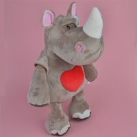 Wholesale Branded Soft Toys - Brand New 45cm Heart Rhinoceros Soft Stuffed Forest Aniamls Plush Toy, Baby Kids Brithdat Party Doll Gift Free Shipping