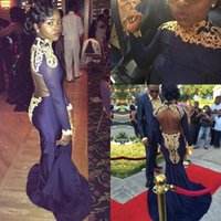 Wholesale Girls Silk Shirt - 2017 New African High Neck Formal Pageant Dresses Evening Wear 2017 Long Sleeves Gold Appliqued Evening Dress Black Girl Prom Party Gowns