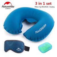 Wholesale Mattress Kit - Wholesale- Brand NatureHike Portable Folding Pillow Air Inflatable Travel Kits Pillow+Eye Blindfolds +Earplug 3 In 1 Set Travel Necessity