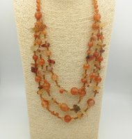 Wholesale Agate Gemstone Necklace - JLN Natural Stone Sweater Necklace Multi Layer Gravel Gemstone Crushed Quartz Red Agate Long Rope Necklace For Women