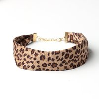 Wholesale Sexy Hairy - 2017 fashion Sexy leopard printed choker necklace women hairy Velvet wide collars jewelry party personality femme bijoux YR107